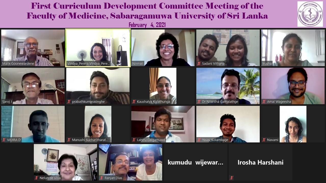 Inaugural meeting of the Curriculum Development Committee